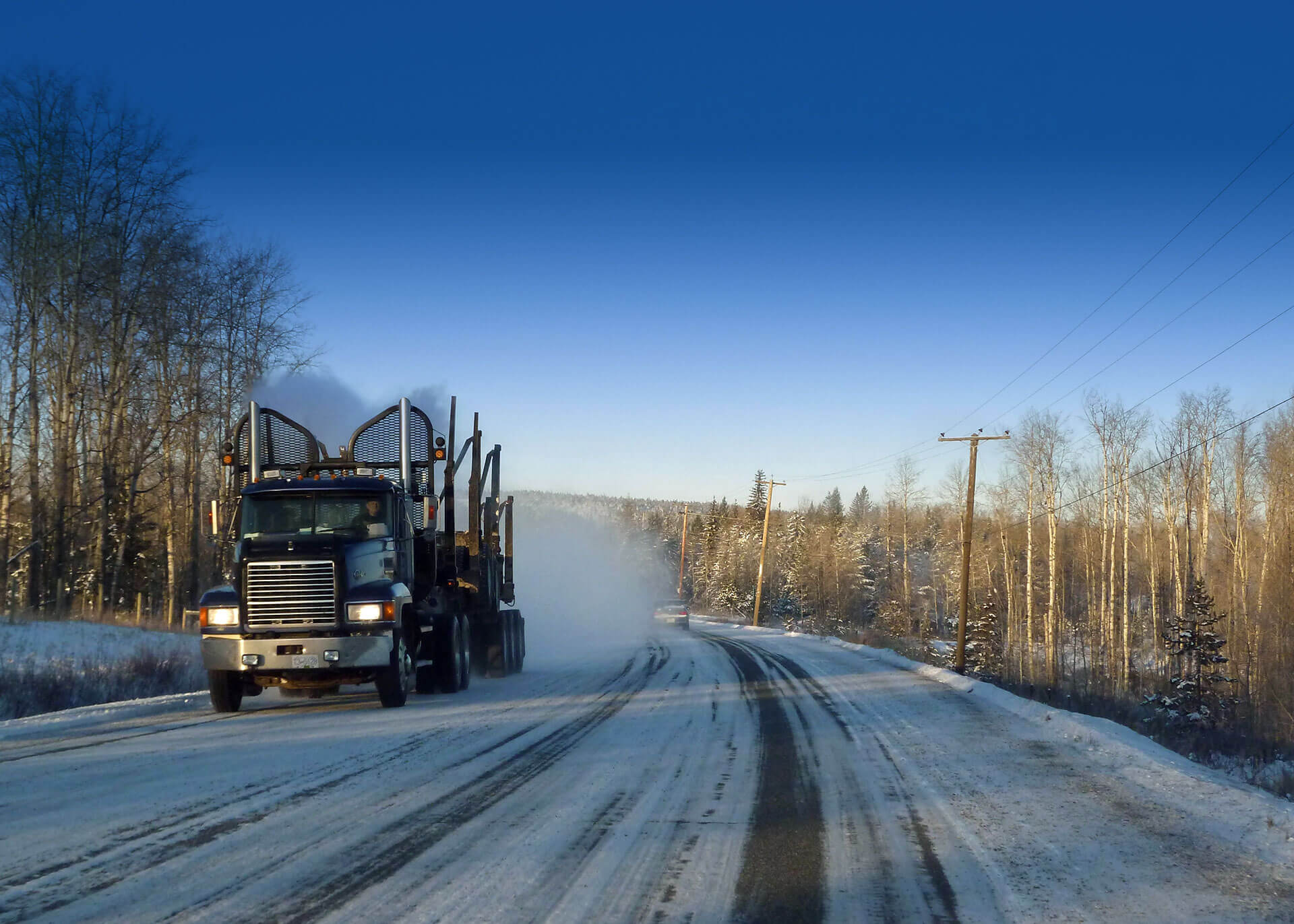 Truck on Winter Road